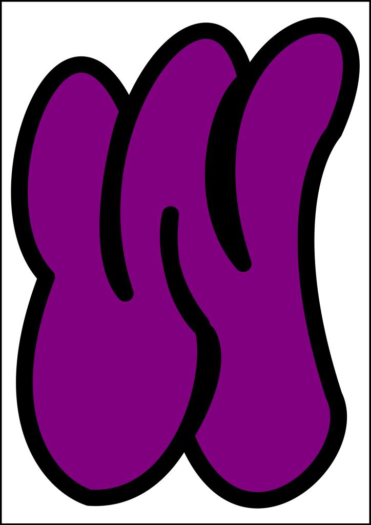 bubble letter w purple