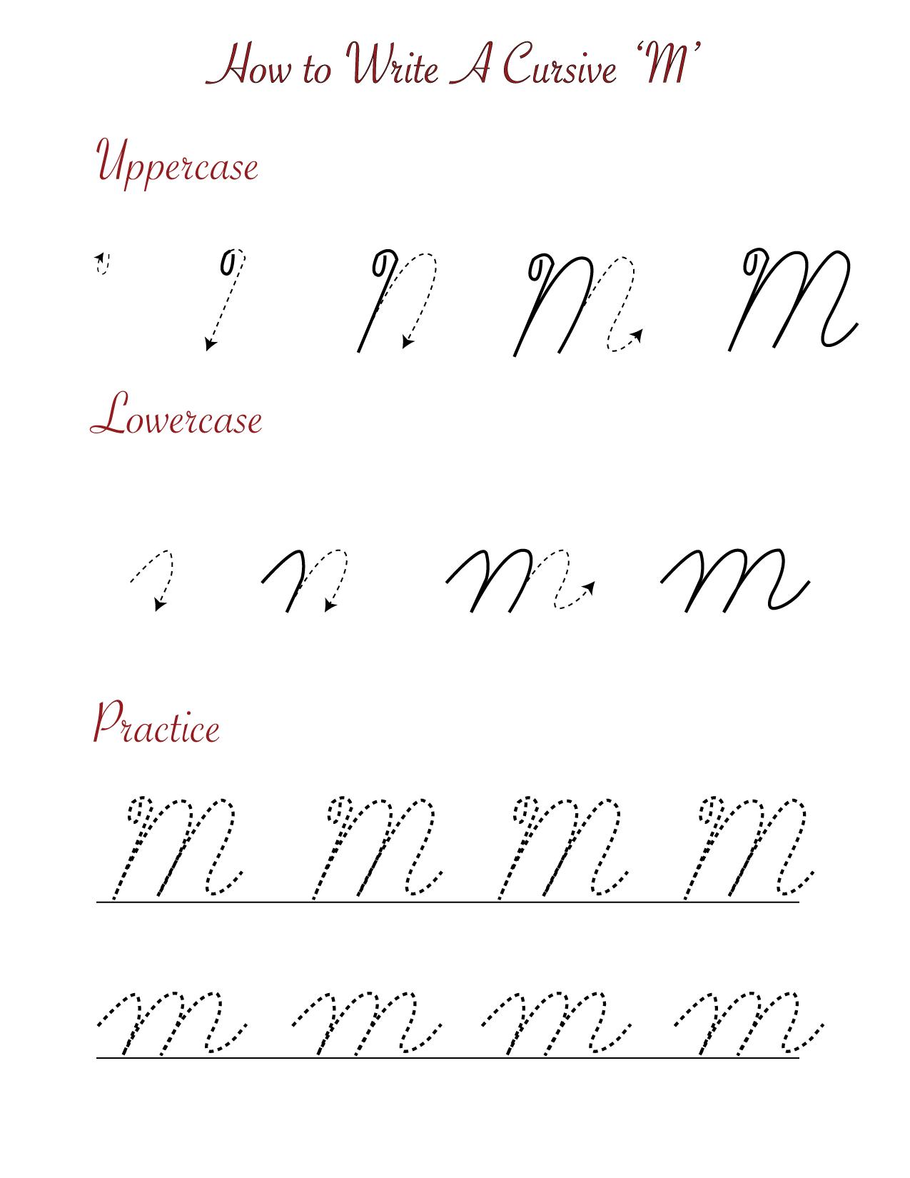 How to write a cursive M