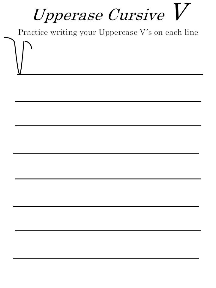 letter 'V' worksheets for uppercase