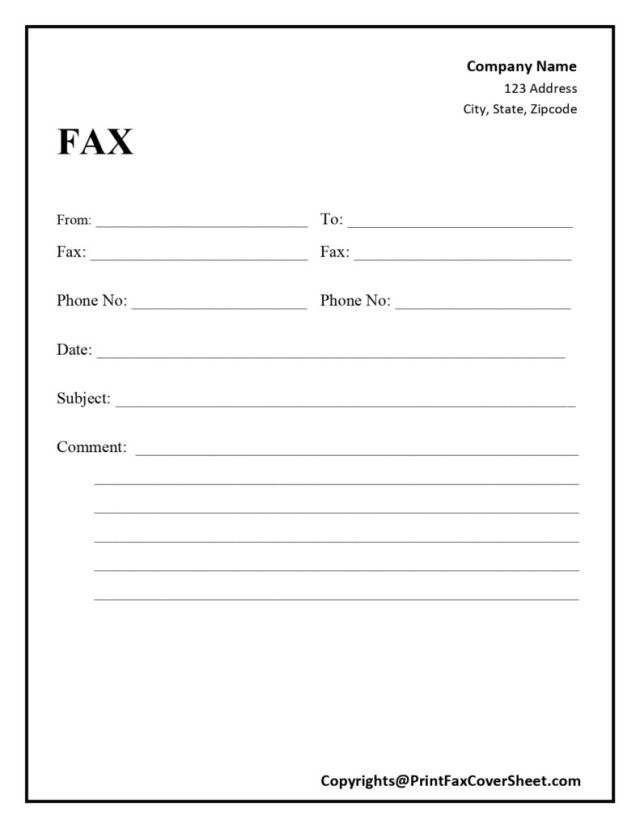 Free Blank Printable Fax Cover Sheet Template [PDF & Word] - Fax
