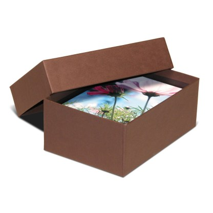 Brown 4x6 proof box, shown opened