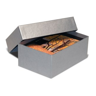 Silver 4x6 proof box, shown opened
