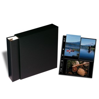 Black OB binder, slipcase and 4x6 black pages