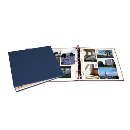 Blue oversized album shown opened