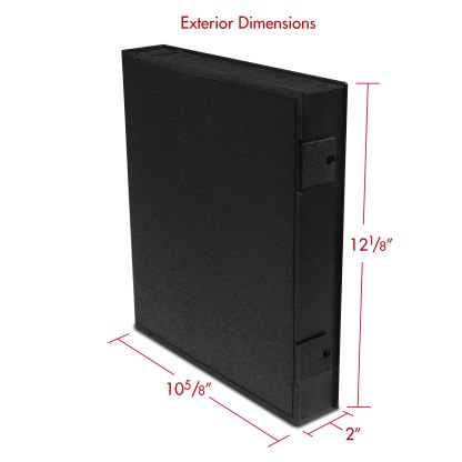 Black Safe-T-Binder with exterior dimensions