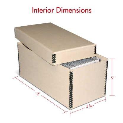 CD tan metal edge box shown with dimensions