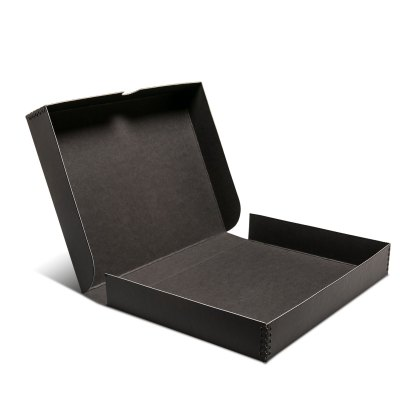 Clamshell metal edge box shown opened