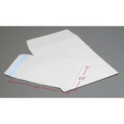 6x9 White Flap envelopes with dimensions