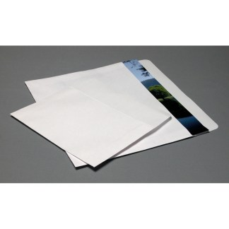White flap envelopes, opened on long side