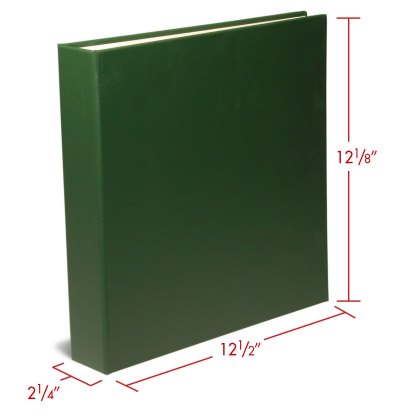 """Green 1.5"""" oversized binder with dimensions"""