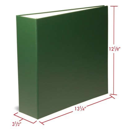 """Green 2.5"""" oversized binder with dimensions"""