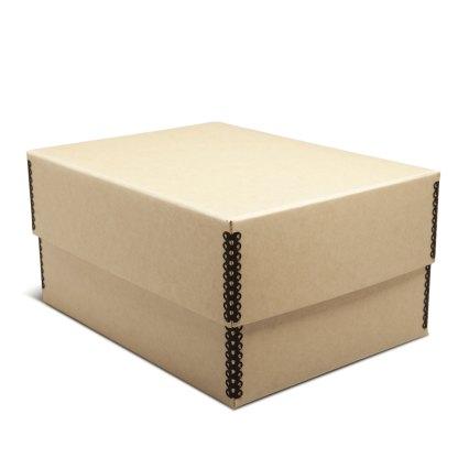 Tan metal-edge 5x7 photo box, closed