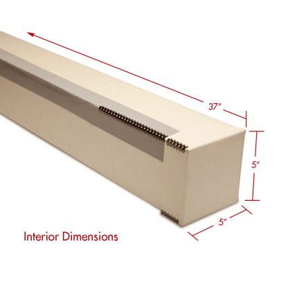 Tan map or roll box with dimensions