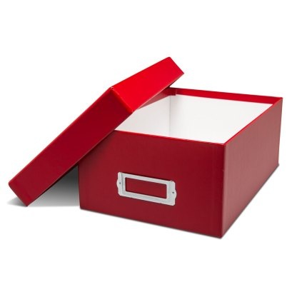 Blue photo storage box- opened