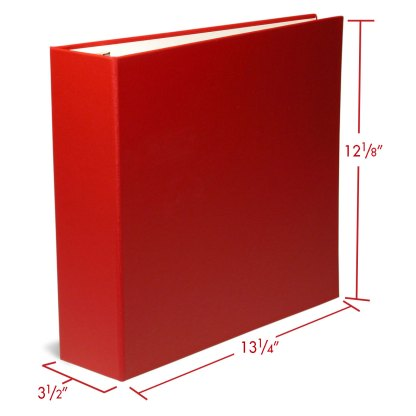 """Red 2.5"""" oversized binder with dimensions"""