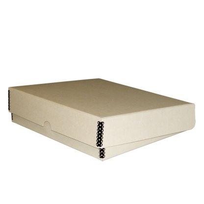 Tan metal-edge box binder, shown closed