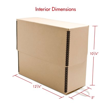 Tan Letter Size Document box with dimensions