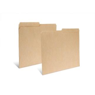 Two dark tan half tab file folders