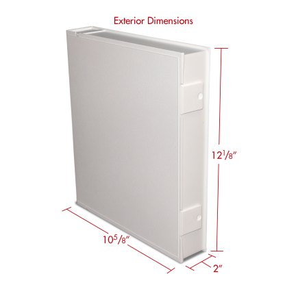 White Safe-T-Binder with exterior dimensions