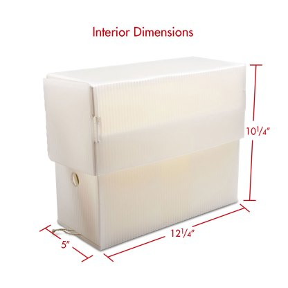 Letter size White Poly corrugated document case with dimensions