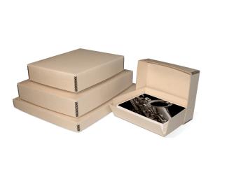 Tan metal edge drop-front box