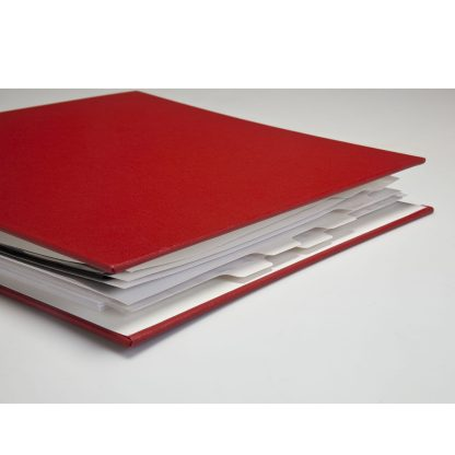 Tabbed dividers shown in oversized binder