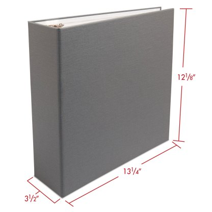 """Gray 2.5"""" oversized album with dimensions"""