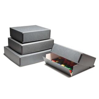 Gray Drop-Front Metal Edge Boxes
