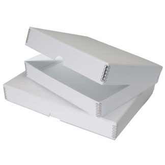 White Clamshell Metal Edge Boxes