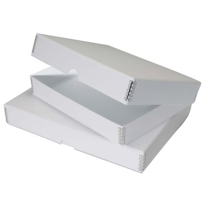 White clamshell metal edge boxes, shown closed and opened