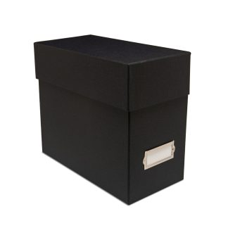 Document case with label holder- closed
