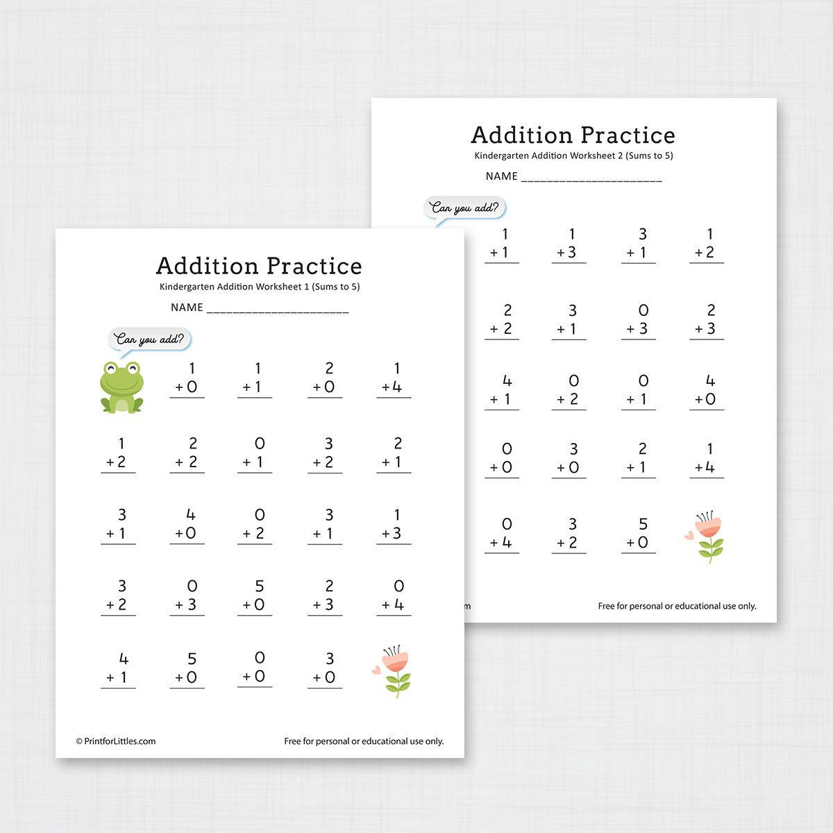Number Addition Worksheets For Kindergarten And Preschool