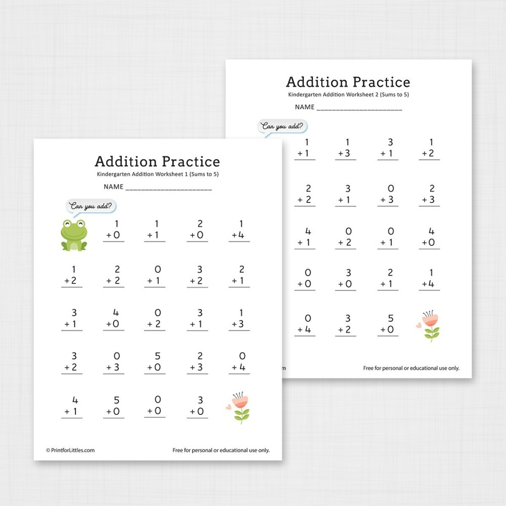medium resolution of Number Addition Worksheets for Kindergarten and Preschool