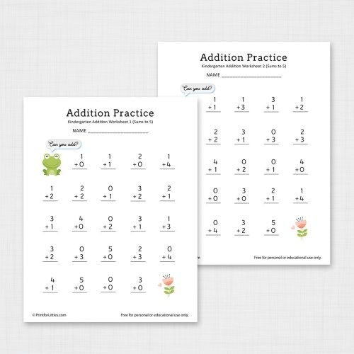 small resolution of Number Addition Worksheets for Kindergarten and Preschool