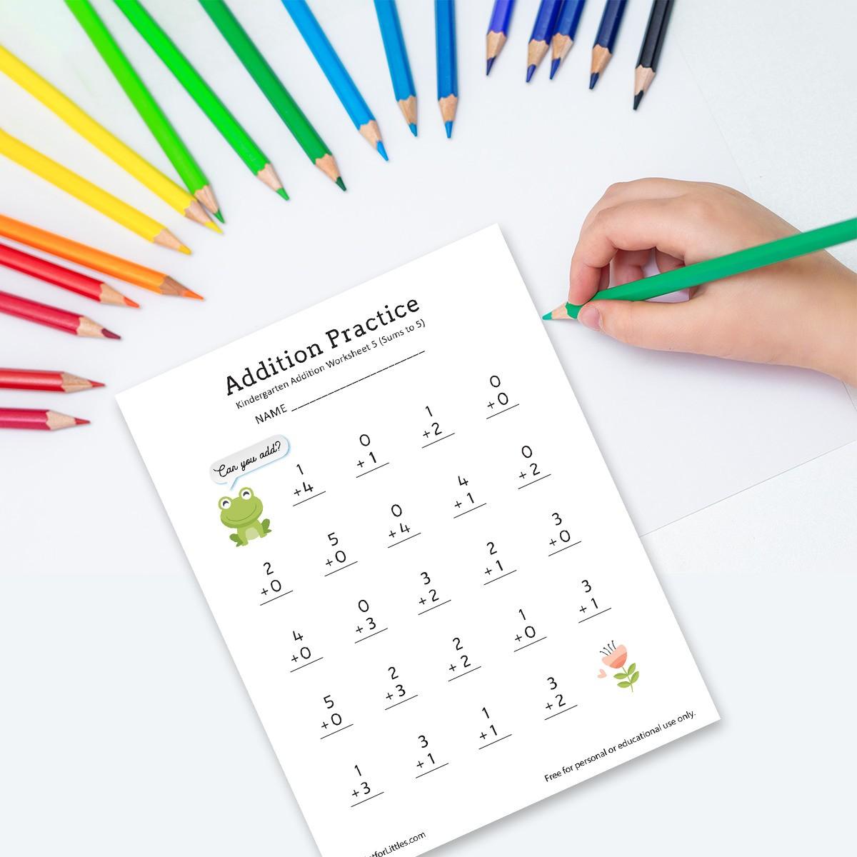 Number Addition Worksheets For Kindergarten And Preschool