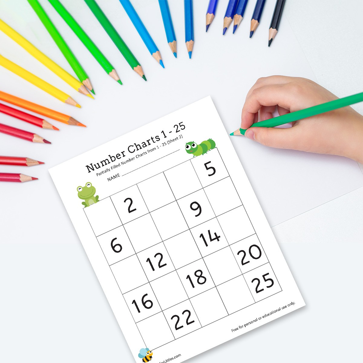 Missing Number Chart 1 25 Worksheets For Kindergarten