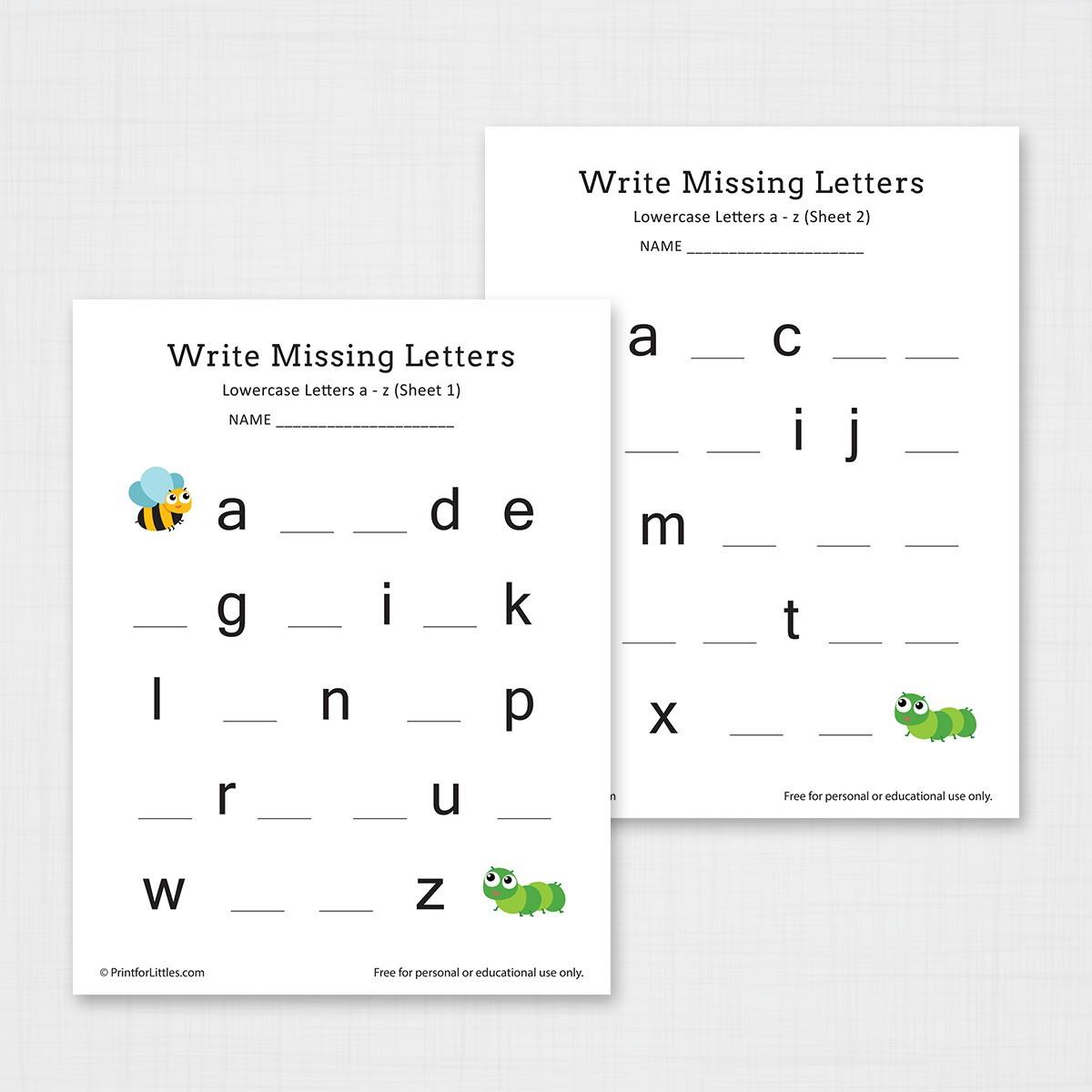 Kindergarten And Preschool Write Missing Letters A Z