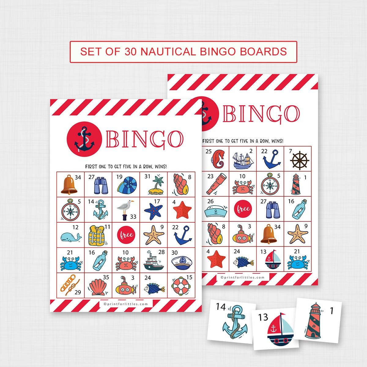Printable Nautical Bingo Cards