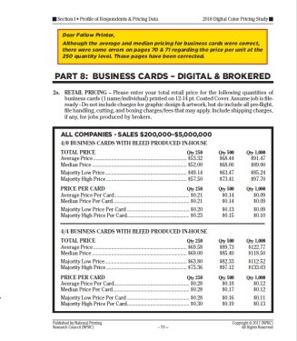 Business card pricing minor corrections national printing data data for average and median pricing as well as majority low and majority high pricing was correct but our price per card at the 250 quantity for colourmoves