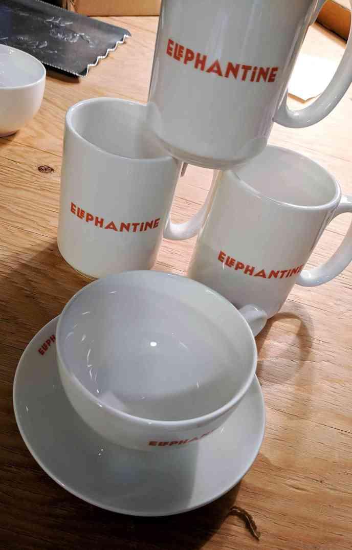 Both Jumbo Mugs and Cappuccino Cups Elephantine Bakery