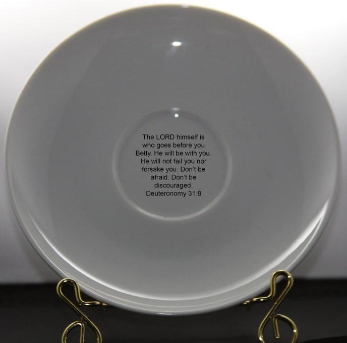 Deuteronomy 31 custom printed inspirational mug cup and saucer