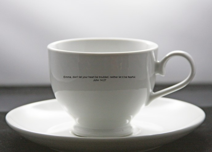 Inspirational Bible Verse Cup and Saucer John 14 with your name added to it