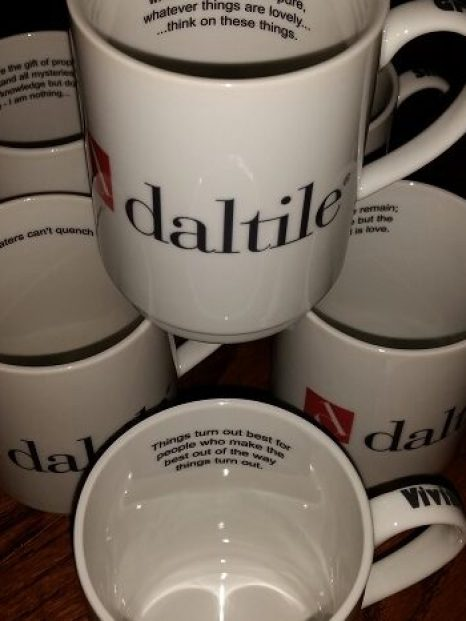 Printed mugs for Daltile who supply us with tiles we print on.