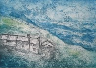 Martin Henley, Gaer Farmstead and Arenig Mountains, Etching and aquatint, 2013