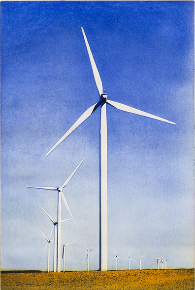 Guy Butters, Windturbines, Northern France, Solar plate etch