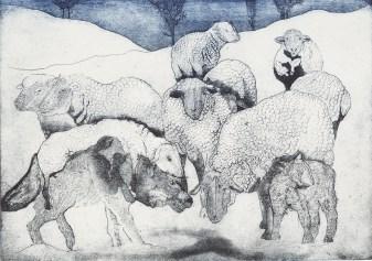 Jane Daniell, Feeling Sheepish, Etching and aquatint