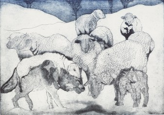 Jane Daniell, Feeling Sheepish, Etching and aquatint