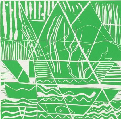 Anne Sumpner Evans, Green Mountains, Linocut