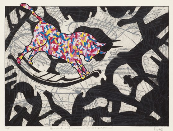 Julie Hoyle, Hundreds and Thousands (Bulls of Bordeaux), Collagraph and screenprint