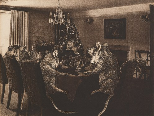 Sarah Rogers, At Dinner, Etching
